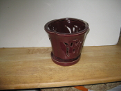 "LOTUS30  Lotus Pot red round 5"" x 5"" high"