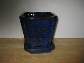 "LOTUS42  Lotus Pot blue square 5"" x 5"" high"