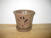 "LOTUS60  Lotus Pot brown round 5"" x 5"" high"