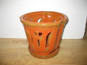 "LOTUS62  Lotus Pot orange round 7"" x 6.5"" high"