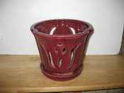 "LOTUS65  Lotus Pot red round 7"" x 6.5"" high"