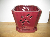 "LOTUS67  Lotus Pot red square 7"" x 7"" high"