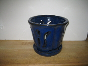 "LOTUS68  Lotus Pot blue round 7"" x 6.5"" high"