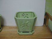 "LOTUS73  Lotus Pot mint square 7"" x 7"" high"