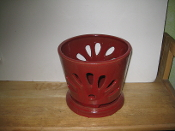 "LOTUS74  Lotus Pot tomato red round 7"" x 6.5"" high"