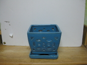 "LOTUS77  Lotus Pot sky blue square 7"" x 6.5"" high"