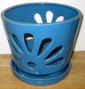 LOTUS78 Lotus Pot- blue round 7 x 6.5 in. high
