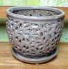 "PE-LOTUS-1  Lacey Orchid Pot - color - Flagstone  5"" x 4.75"""