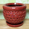 "PE-LOTUS-4   Orchid Pot red - 5.5"" x 5.25"""