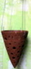 "LARGE RUSTIC CLAY CONE POT with wire hanger 7"" across 10"" long"