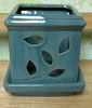 "PE-LOTUS-7  sq teal pot, 5"" x 5.5"" REG 12.00, SALE PRICE 8.95"